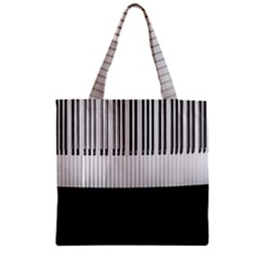Piano Keys On The Black Background Zipper Grocery Tote Bag