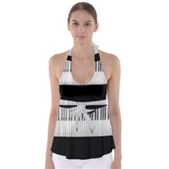 Piano Keys On The Black Background Babydoll Tankini Top