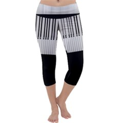 Piano Keys On The Black Background Capri Yoga Leggings