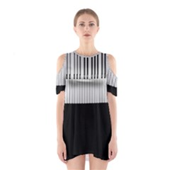 Piano Keys On The Black Background Shoulder Cutout One Piece