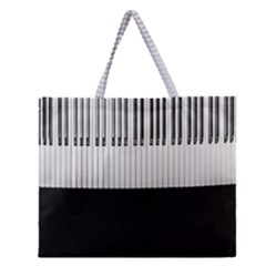 Piano Keys On The Black Background Zipper Large Tote Bag