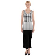 Piano Keys On The Black Background Fitted Maxi Dress