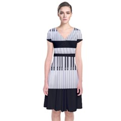 Piano Keys On The Black Background Short Sleeve Front Wrap Dress