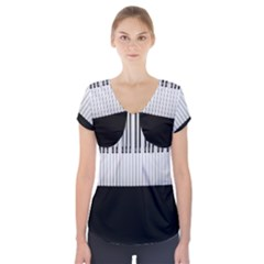 Piano Keys On The Black Background Short Sleeve Front Detail Top