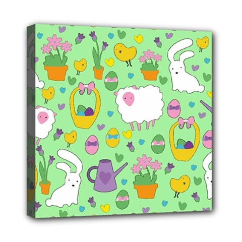 Cute Easter pattern Mini Canvas 8  x 8