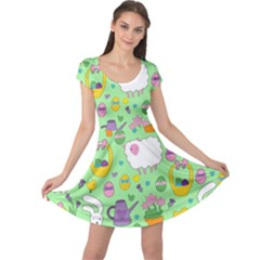 Cute Easter pattern Cap Sleeve Dresses