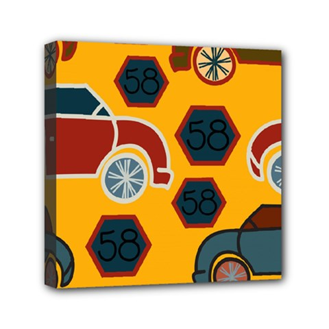Husbands Cars Autos Pattern On A Yellow Background Mini Canvas 6  X 6