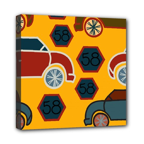 Husbands Cars Autos Pattern On A Yellow Background Mini Canvas 8  x 8
