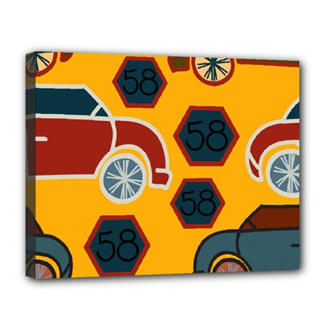 Husbands Cars Autos Pattern On A Yellow Background Canvas 14  X 11