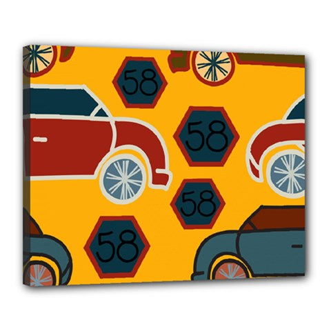 Husbands Cars Autos Pattern On A Yellow Background Canvas 20  x 16