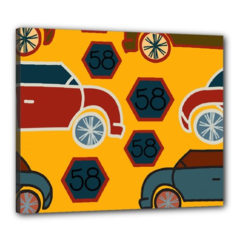 Husbands Cars Autos Pattern On A Yellow Background Canvas 24  X 20