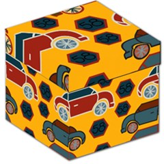 Husbands Cars Autos Pattern On A Yellow Background Storage Stool 12