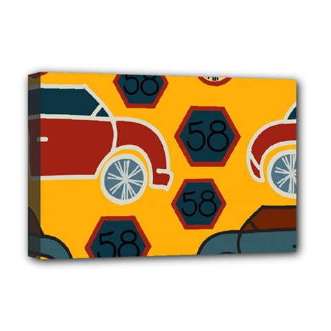 Husbands Cars Autos Pattern On A Yellow Background Deluxe Canvas 18  x 12
