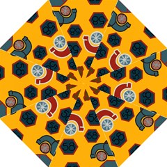 Husbands Cars Autos Pattern On A Yellow Background Hook Handle Umbrellas (Large)