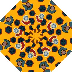 Husbands Cars Autos Pattern On A Yellow Background Hook Handle Umbrellas (small)