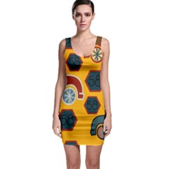 Husbands Cars Autos Pattern On A Yellow Background Sleeveless Bodycon Dress