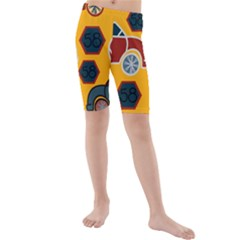 Husbands Cars Autos Pattern On A Yellow Background Kids  Mid Length Swim Shorts