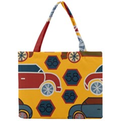 Husbands Cars Autos Pattern On A Yellow Background Mini Tote Bag