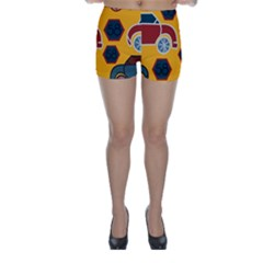 Husbands Cars Autos Pattern On A Yellow Background Skinny Shorts