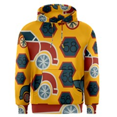 Husbands Cars Autos Pattern On A Yellow Background Men s Pullover Hoodie