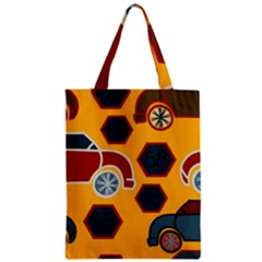 Husbands Cars Autos Pattern On A Yellow Background Zipper Classic Tote Bag