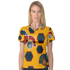 Husbands Cars Autos Pattern On A Yellow Background Women s V Neck Sport Mesh Tee