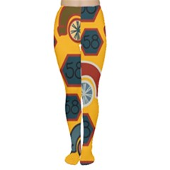 Husbands Cars Autos Pattern On A Yellow Background Women s Tights