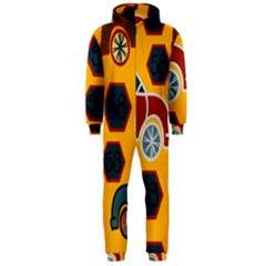 Husbands Cars Autos Pattern On A Yellow Background Hooded Jumpsuit (Men)