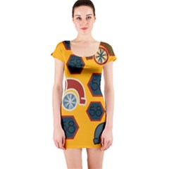 Husbands Cars Autos Pattern On A Yellow Background Short Sleeve Bodycon Dress
