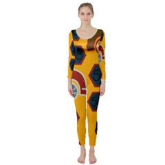 Husbands Cars Autos Pattern On A Yellow Background Long Sleeve Catsuit