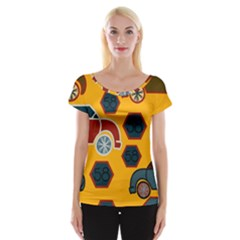 Husbands Cars Autos Pattern On A Yellow Background Women s Cap Sleeve Top