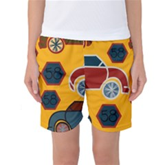 Husbands Cars Autos Pattern On A Yellow Background Women s Basketball Shorts
