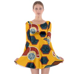 Husbands Cars Autos Pattern On A Yellow Background Long Sleeve Skater Dress