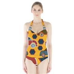 Husbands Cars Autos Pattern On A Yellow Background Halter Swimsuit
