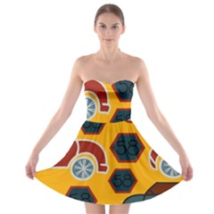 Husbands Cars Autos Pattern On A Yellow Background Strapless Bra Top Dress