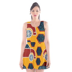 Husbands Cars Autos Pattern On A Yellow Background Scoop Neck Skater Dress