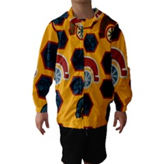 Husbands Cars Autos Pattern On A Yellow Background Hooded Wind Breaker (Kids)