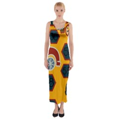 Husbands Cars Autos Pattern On A Yellow Background Fitted Maxi Dress