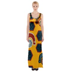 Husbands Cars Autos Pattern On A Yellow Background Maxi Thigh Split Dress