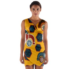 Husbands Cars Autos Pattern On A Yellow Background Wrap Front Bodycon Dress