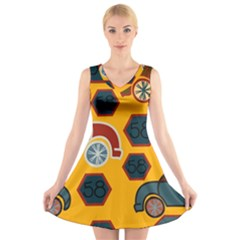 Husbands Cars Autos Pattern On A Yellow Background V Neck Sleeveless Skater Dress