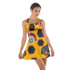 Husbands Cars Autos Pattern On A Yellow Background Cotton Racerback Dress