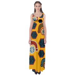 Husbands Cars Autos Pattern On A Yellow Background Empire Waist Maxi Dress