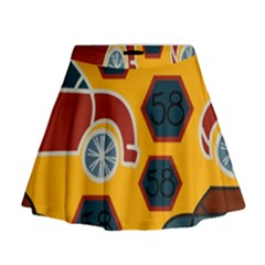 Husbands Cars Autos Pattern On A Yellow Background Mini Flare Skirt