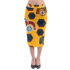 Husbands Cars Autos Pattern On A Yellow Background Midi Pencil Skirt