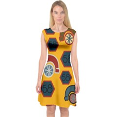 Husbands Cars Autos Pattern On A Yellow Background Capsleeve Midi Dress