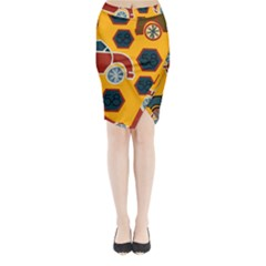 Husbands Cars Autos Pattern On A Yellow Background Midi Wrap Pencil Skirt