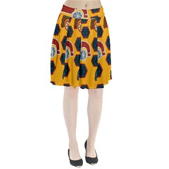 Husbands Cars Autos Pattern On A Yellow Background Pleated Skirt