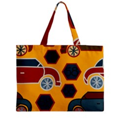 Husbands Cars Autos Pattern On A Yellow Background Medium Zipper Tote Bag