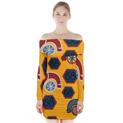 Husbands Cars Autos Pattern On A Yellow Background Long Sleeve Off Shoulder Dress